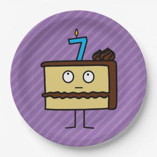 7mo Torta de cumpleaños con las velas Platos De Papel