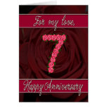 7th anniversary card with roses and leaves