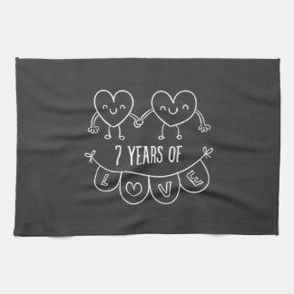 7th Anniversary Gift Chalk Hearts Hand Towel