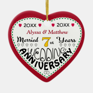 7th Anniversary Gift Heart Shaped Christmas Ceramic Ornament
