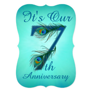 7th Anniversary invitation cards number 7
