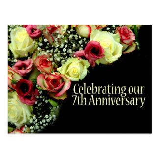 7th Anniversary Rose Invitation Postcard