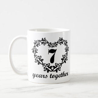7th Wedding Anniversary Gifts For Couples : 7th Anniversary Years Together Heart Gift Mug