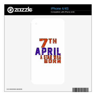 7th April a star was born Skin For iPhone 4S