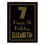 "[ Thumbnail: 7th Birthday: Art Deco Inspired Look ""7"" + Name Card ]"