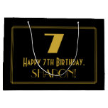 "[ Thumbnail: 7th Birthday — Art Deco Inspired Look ""7"" & Name Gift Bag ]"