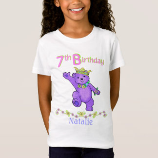 7th Birthday Bear Princess, Custom Name T-Shirt