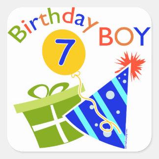7th Birthday - Birthday Boy Square Stickers