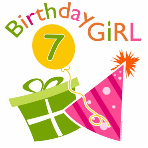 7th birthday birthday girl photo cutouts
