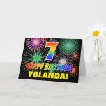[ Thumbnail: 7th Birthday: Bold, Fun, Fireworks, Rainbow 7 Card ]