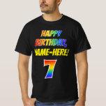 [ Thumbnail: 7th Birthday — Bold, Fun, Rainbow 7, Custom Name T-Shirt ]