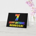 [ Thumbnail: 7th Birthday: Bold, Fun, Simple, Rainbow 7 Card ]