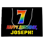[ Thumbnail: 7th Birthday: Bold, Fun, Simple, Rainbow 7 Gift Bag ]