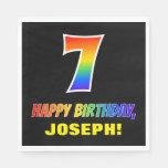 [ Thumbnail: 7th Birthday: Bold, Fun, Simple, Rainbow 7 Napkins ]