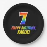 [ Thumbnail: 7th Birthday: Bold, Fun, Simple, Rainbow 7 Paper Plate ]