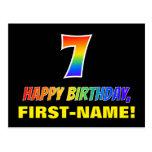 [ Thumbnail: 7th Birthday: Bold, Fun, Simple, Rainbow 7 Postcard ]