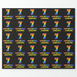 [ Thumbnail: 7th Birthday: Bold, Fun, Simple, Rainbow 7 Wrapping Paper ]