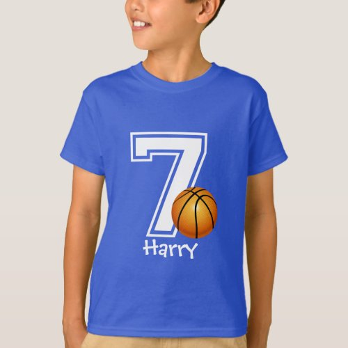 7th Birthday boy basketball personalized_2 T_Shirt