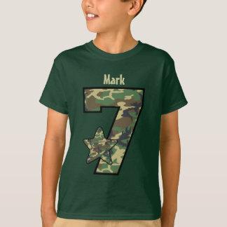 7th Birthday Boy Camo Custom Name V01 T-Shirt