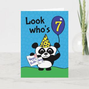 Boy 7th birthday cards zazzle 7th birthday boy panda with balloon card m4hsunfo