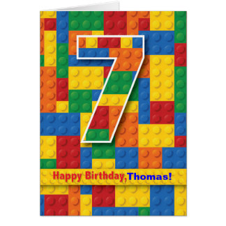 7th Birthday Boy, Stacking Blocks, Personalize Greeting Cards