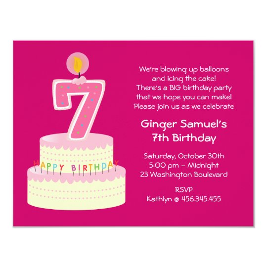 7 year old party invitations announcements zazzle 7th birthday cake invitation stopboris Gallery