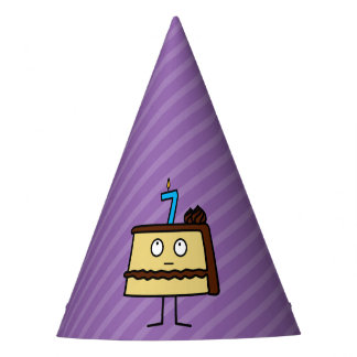 7th Birthday Cake with Candles Party Hat