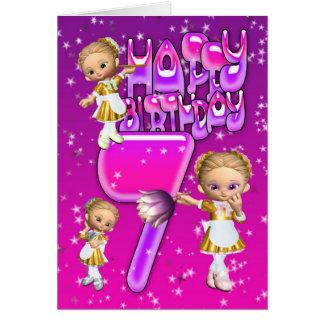 7th Birthday Card cute little glitter maids