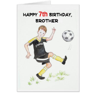 7th Birthday Card for a Brother - Footballer