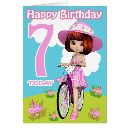7th Birthday Card Pretty Little Girl On A Bicycle