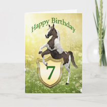 7th birthday card with a rearing horse