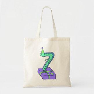 7th Birthday Cartoon. Canvas Bags