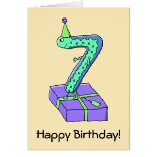 7th Birthday Cartoon. Card