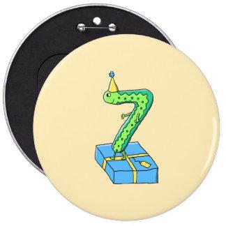 7th Birthday Cartoon Green and Blue Pins