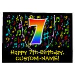 [ Thumbnail: 7th Birthday - Colorful Music Symbols, Rainbow 7 Gift Bag ]