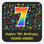 [ Thumbnail: 7th Birthday: Colorful Music Symbols, Rainbow 7 Sticker ]