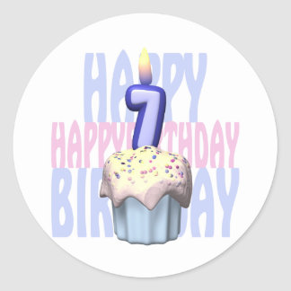 7th Birthday Cupcake Birthday Classic Round Sticker