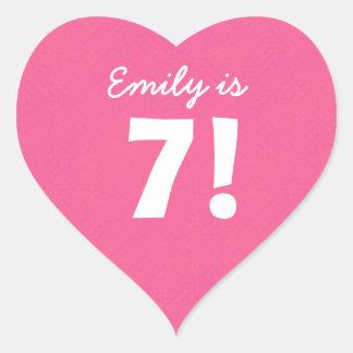 7th Birthday Custom Name Pink Dots for GIRL B7Z Heart Sticker