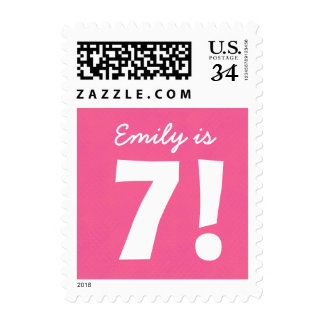 7th Birthday Custom Name Pink Dots for GIRL B7Z Postage Stamp