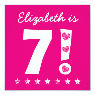 7th Birthday Custom Name Pink for GIRL A08 Card