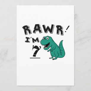 7th Birthday Dinosaur Gift For 7 Year Old Boys Card