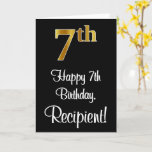 [ Thumbnail: 7th Birthday ~ Elegant Luxurious Faux Gold Look # Card ]