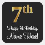 [ Thumbnail: 7th Birthday – Elegant Luxurious Faux Gold Look # Sticker ]