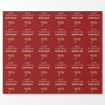 [ Thumbnail: 7th Birthday: Elegant, Red, Faux Gold Look Wrapping Paper ]