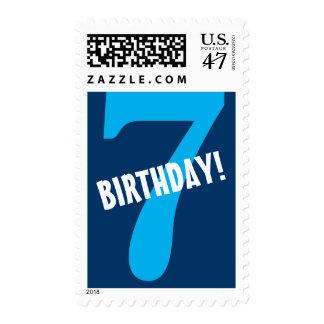 7th Birthday for Boy Big Bold Blue Number Postage