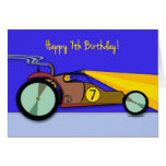 7th Birthday for Child, Dune Buggy Racing at Night Greeting Card