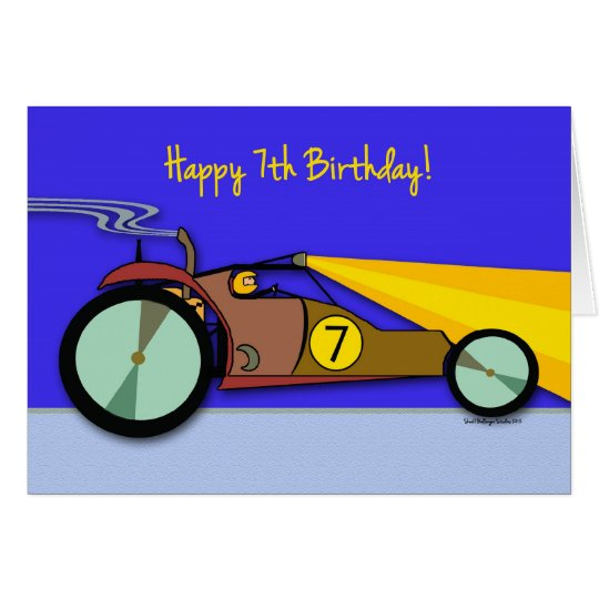 7th Birthday for Child, Dune Buggy Racing at Night Card