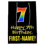 "[ Thumbnail: 7th Birthday: Fun, Bold, Colorful, Rainbow ""7"" Gift Bag ]"