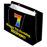 [ Thumbnail: 7th Birthday ~ Fun, Colorful, Vibrant, Rainbow 7 Gift Bag ]