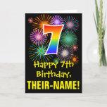 [ Thumbnail: 7th Birthday: Fun Fireworks Pattern + Rainbow 7 Card ]